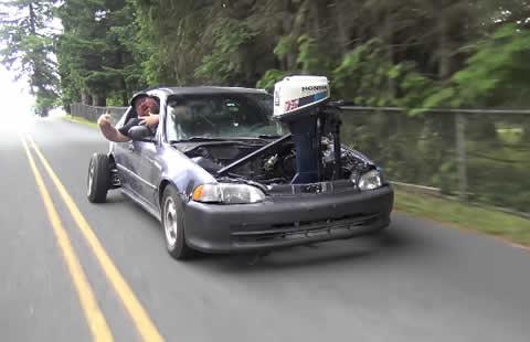 BOAT Motor SWAP in a CAR