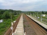 跨線橋上から見た伊納駅ホームと周辺