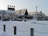 雪景色の石北本線・北見駅