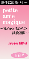 自主制作応援バナー「petite amie magique 〜まどかとほむらの試験週間〜 (projectMDHM)」企画:百合ゲーム時々、他事語り/制作:百合ニュース