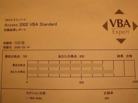VBA Expert受験結果
