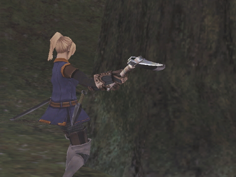 マメコは木を切る