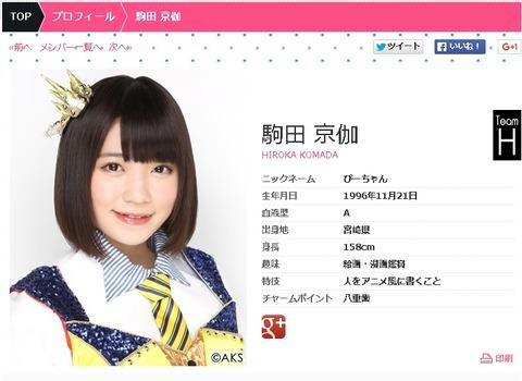 得意なスポーツをタイピングと答えるアイドルHKT48駒田京伽(こまだひろか)を応援しよう!