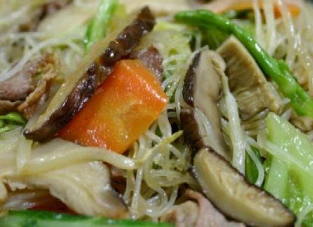 干し椎茸の焼きビーフン