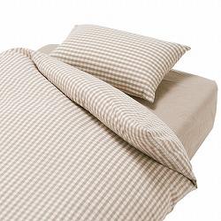 洗いざらしの綿掛ふとんカバー・S/ベージュチェック 150×210cm用