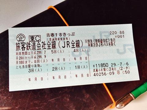 2017年 夏の青春18きっぷ購入