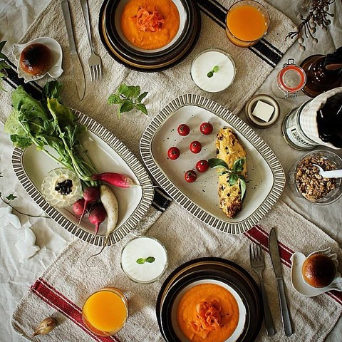 Breakfast : Carrot Soup&Salad, Omelet, Cherry Tomato, Radish, Granola, Yogurt, Orange Juice