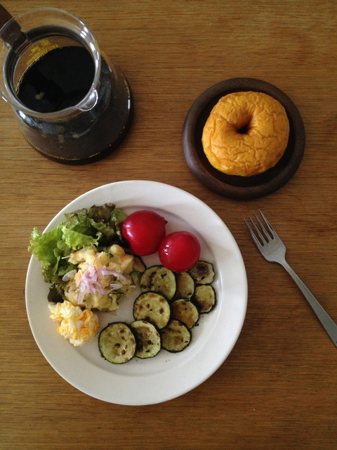 PumpkinDonuts PotatoSalad Egg Lettuce Zucchini Plum Coffee