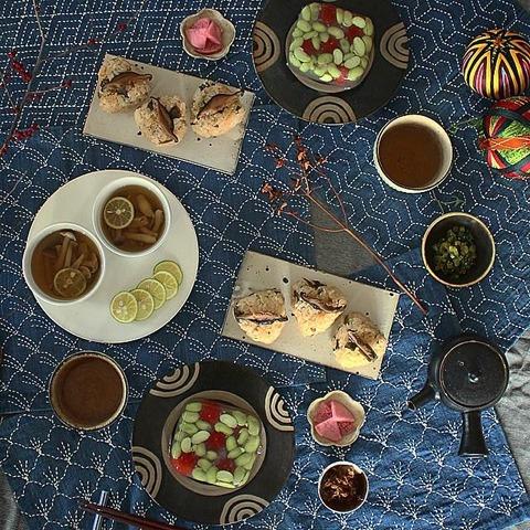 Breakfast : Japanese Style ASAGOHAN Yakionigiri, Osuimono, Kantenyose, Tsukemono, Houji-Cha