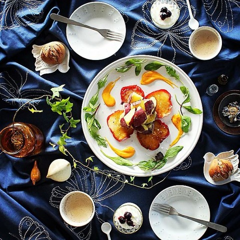 Breakfast : Baked Apple & Sweet Potato Salad Carrot Salad Dressing, Yogurt, Bread, Chai