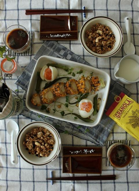 Breakfast : Grilled Corn Okra, Celery, Boiled Egg, Granola(from TAKIBI BAKERY), Iced Latte