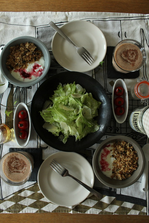 Breakfast : Homemade Coconuts Granola, Yogurt, Caesar Salad, Cherry Tomato, Chocolate Mocha Banana Shake