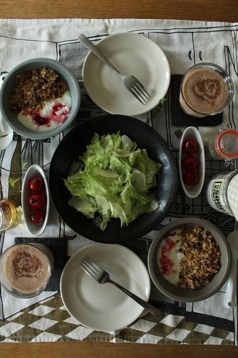 Breakfast : Homemade Coconuts Granola, Yogurt, Caesar Salad, Cherry Tomato, Chocolate Mocha Banana Shake