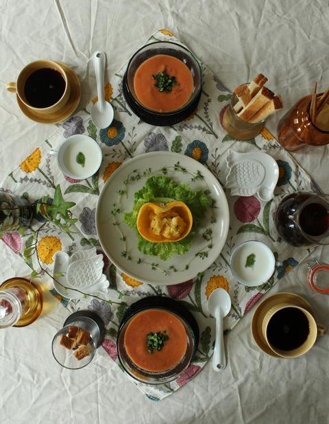 Breakfast : Gaspacho, Pumpkin Salad, Lettuce, Toast, Yogurt, Coffee