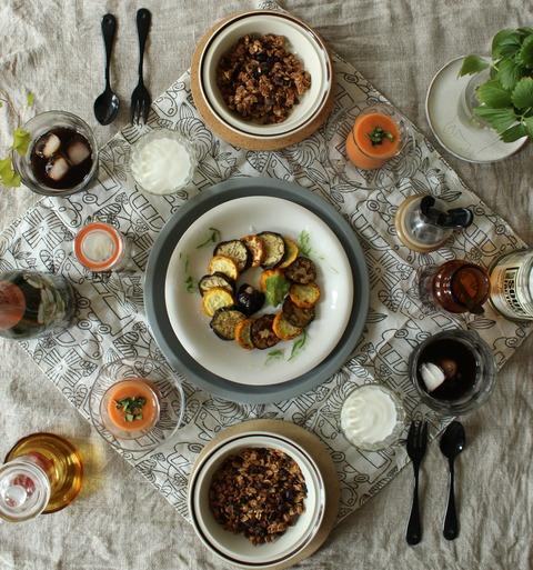 Breakfast : Grilled Zucchini&Eggplant, Gaspacho, Homemade Coffee Cinnamon Granola, Yogurt, Iced Coffee