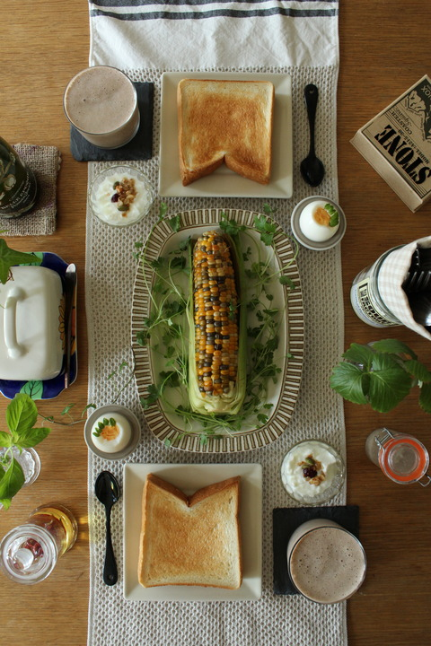 Breakfast : Boiled Corn, Boiled Egg, Celery, Toast, Yogurt, Granola, Coffee Shake