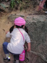 岩をよじ登り
