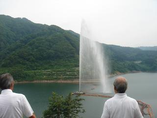 寒河江ダム噴水