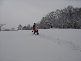 20080106弓張平スノーシュー_森の施設区まっすぐ歩ける?