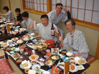 2009佐渡LR「敷島荘」夕食にて