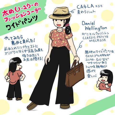 太めファッションコーデ ワイドパンツとダニエルウェリントン【モニター】
