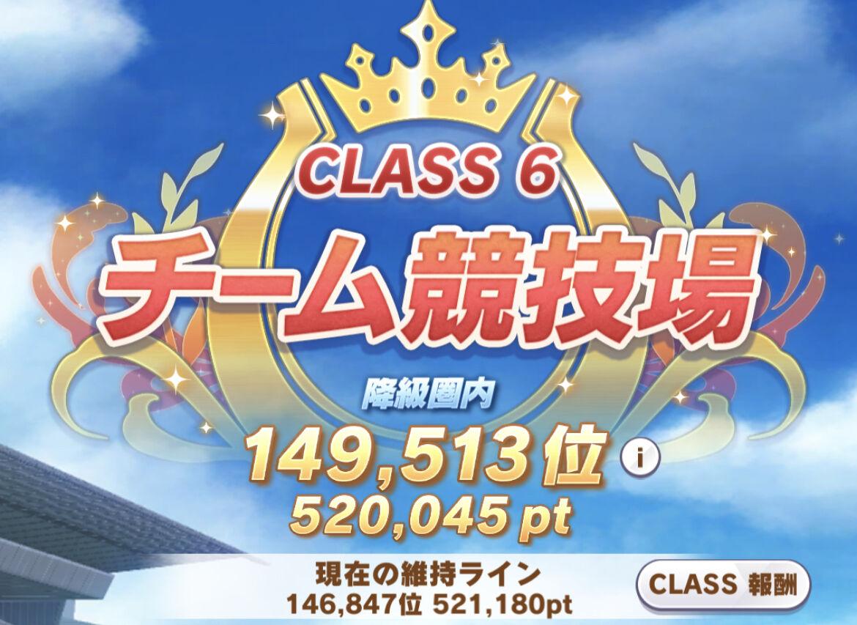 【ウマ娘】今週のクラス6維持ライン、523000