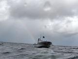 イルカ船と虹
