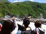 御蔵島に手を振る
