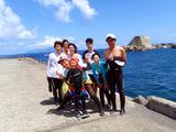 御蔵島港にてスノーケリング練習会終了