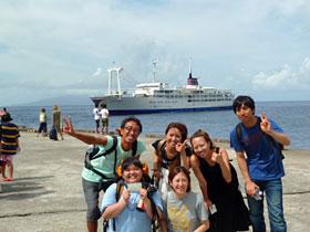 御蔵島港集合写真