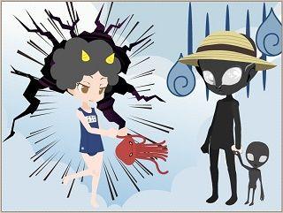 [セルフィinミュージアム]カミナリ娘vs宇宙人親子・・・さて結果は[2014/01/28 17:36]
