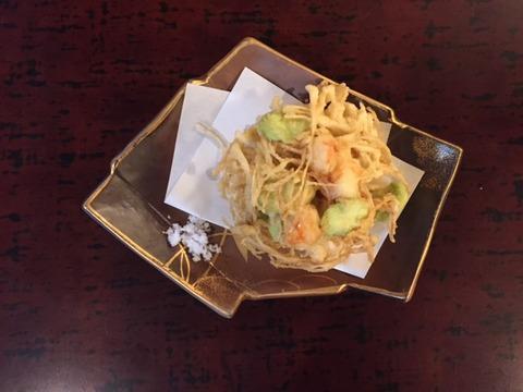 新牛蒡と空豆と海老のかき揚げ(三千櫻を楽しむ会)