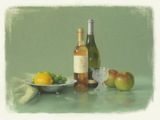 パステル画作品『果実のある静物』