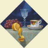 油彩画「レモンのある静物500」