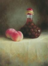 パステル画作品『桃とデコレーションボトル』