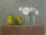 パステル画作品『トルコ桔梗とラ・フランス』