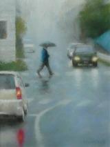 パステル画作品『Walking in the Rain』