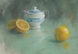 パステル画作品『シュガーポットとレモン』