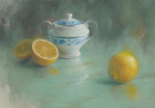 パステル画作品『シュガーポットとレモン』 個展後初パステル画作品『シュガーポットとレモン』(ミ・