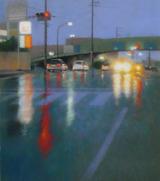 パステル画作品『雨の国道』