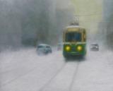 油彩画(ホルベインDUO)作品『雪の路面電車』
