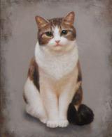 猫の肖像画「たたずむ」油彩画/F3サイズ