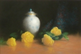 パステル画作品『薔薇と壺』