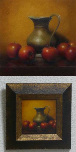 油彩画(ホルベインDUO)作品『林檎と水差し』