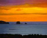 油彩画作品『夕暮れの塔島』