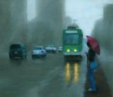 パステル画作品『路面電車のある風景(札幌)』