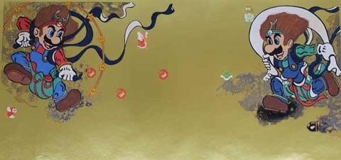 完成品マリオ&ルイージ図屏風木版画 のコピー