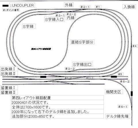 20090421:第四レイアウト線路配置 20090405