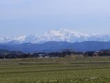 陽光を浴びる白山