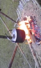 かまどに火が
